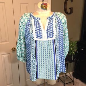 Crown & Ivy Boho Blue/Green Tunic Size Large